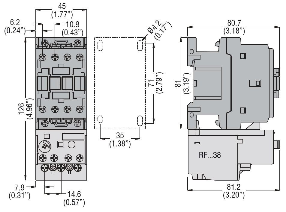 THREE-POLE CONTACTOR, IEC OPERATING CURRENT IE (AC3) = 12A ... on