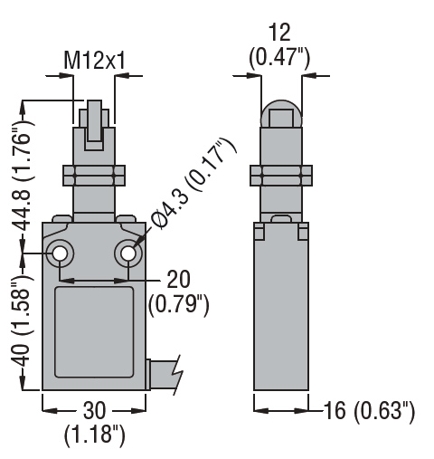 PREWIRED METAL LIMIT SWITCH, K SERIES, TOP ROLLER PUSH