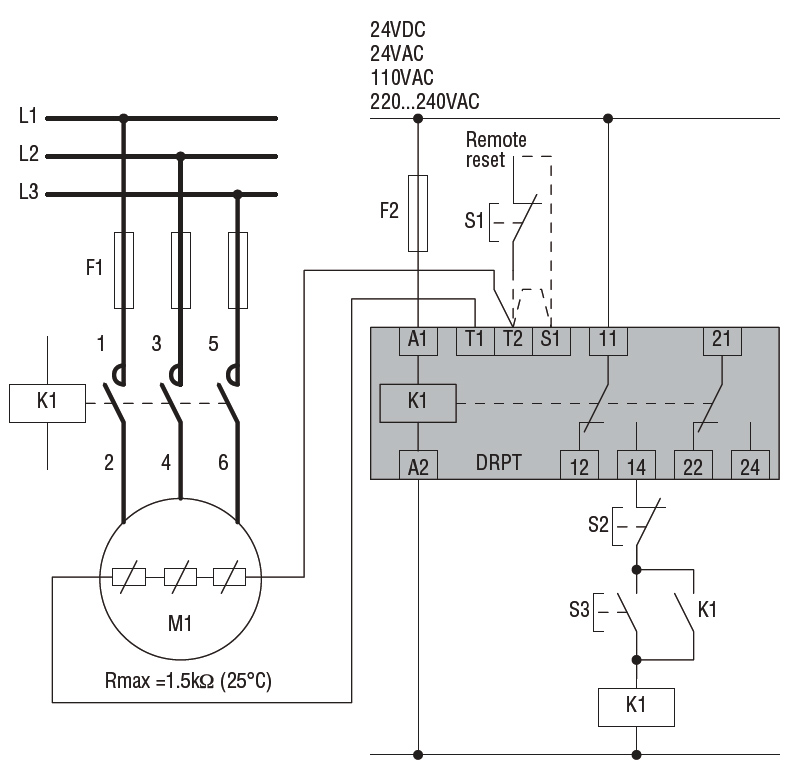 Thermistor Protection Relay 24vdc, Motor Thermistor Wiring Diagram