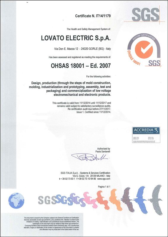OHSAS 18001 certification | Lovato Electric